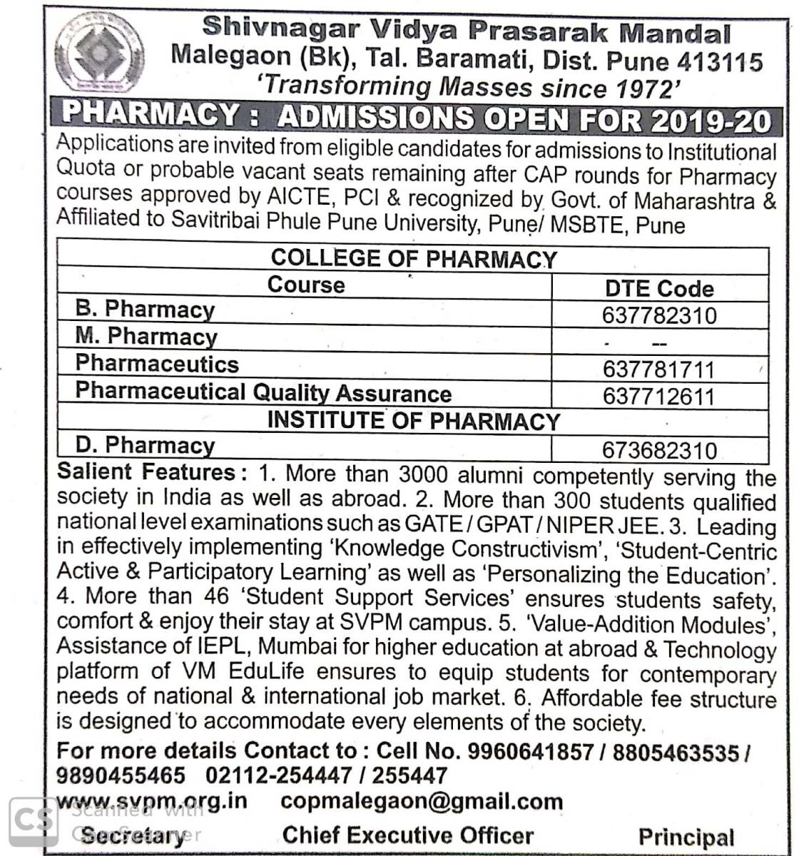 College of Pharmacy, Malegaon (Bk)