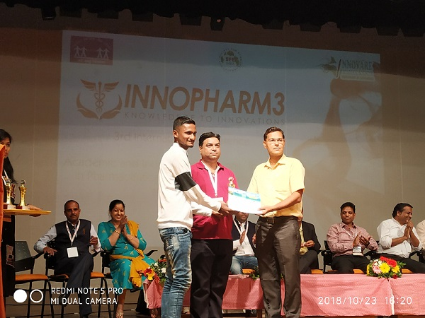 Second Prize for Poster presentation in INNOPHARM 3